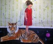 Att staa paa en tiger_ olja paa duk_ 115x135