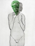 Jente-med-maske. Grønn